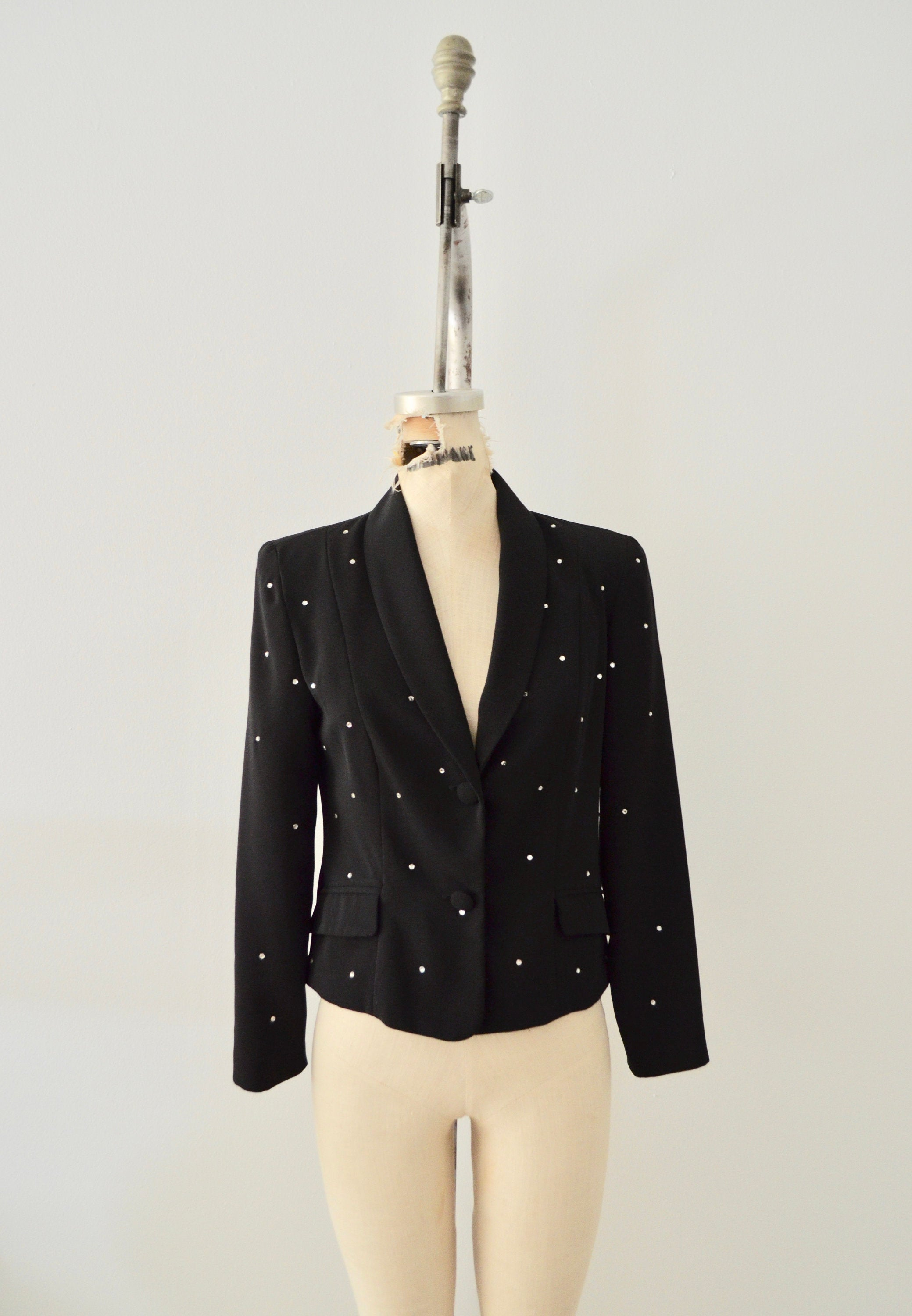 Shoulder Pads Black Tailored Blazer Bedazzled Crystal Embellishment Fall Style Russel Kemp