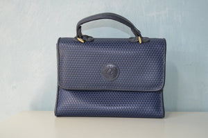 Retro Blue Navy Leather Liz Clairbone Handbag Purse Miniature