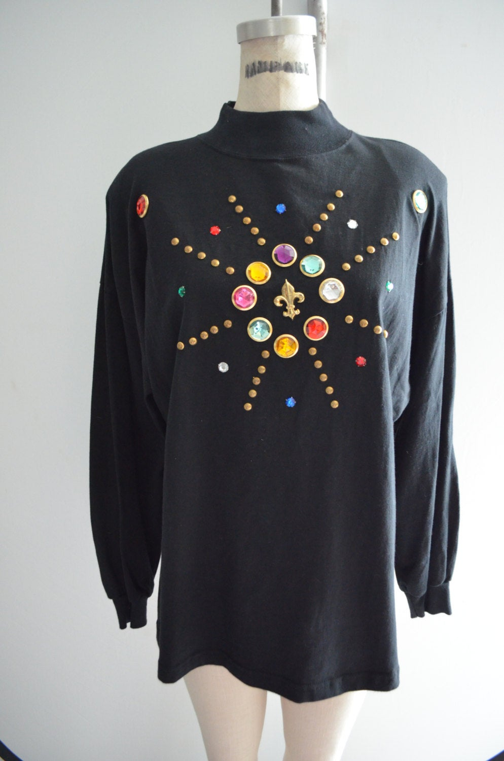 Colorful Stones Beaded Embellished Oversized Women's Sweater Jumper Jeweled Gemstone Gems
