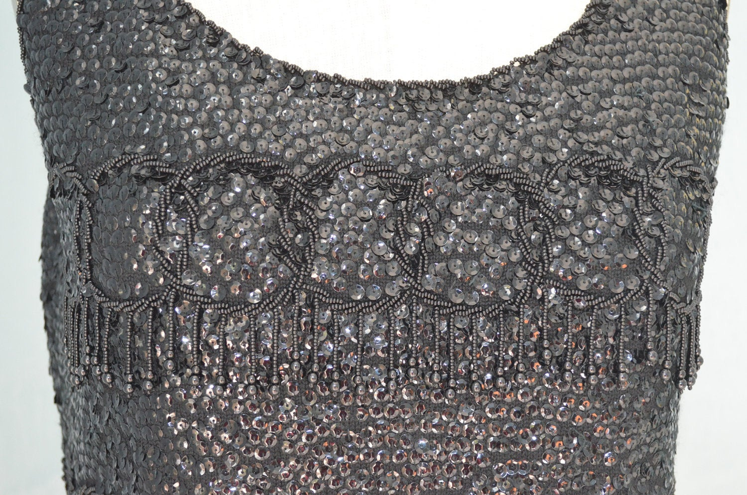 Glamour Sequined Beaded Robin Handicraft Black Cropped Sequin Top
