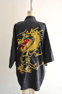 Vest Black Chinese Japanese Women Kimono Traditional Embroidery Satin Robe Gold Dragon Bath Gown