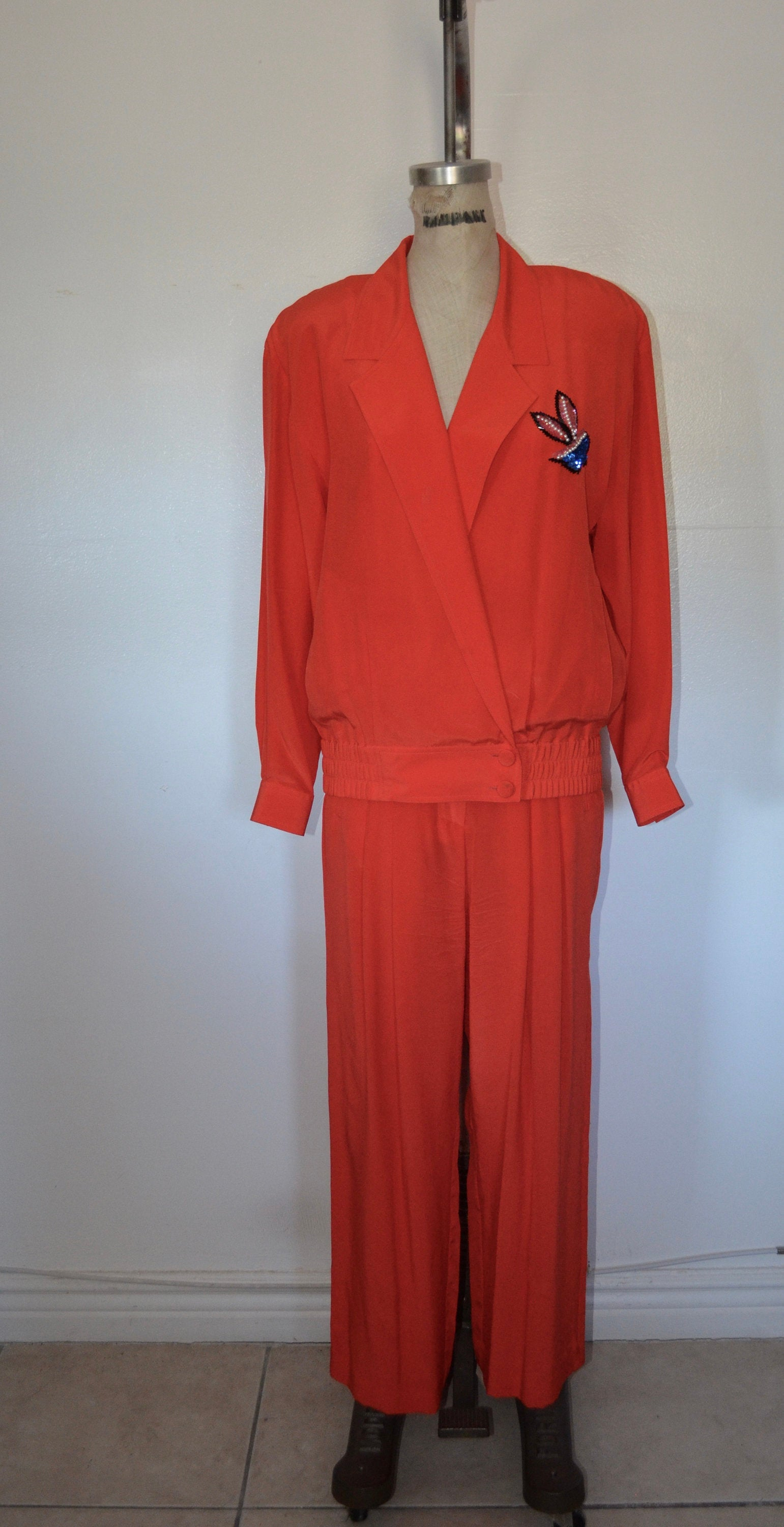 Lillie Rubin Silk Sequins Orange 2Pcs Pants Suit Bold Bomberjacket Set Wide Leg High Waist