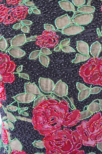 Red Floral Roses Flower Sequined Silk Sequined Beaded Roses Women M Fall 2017
