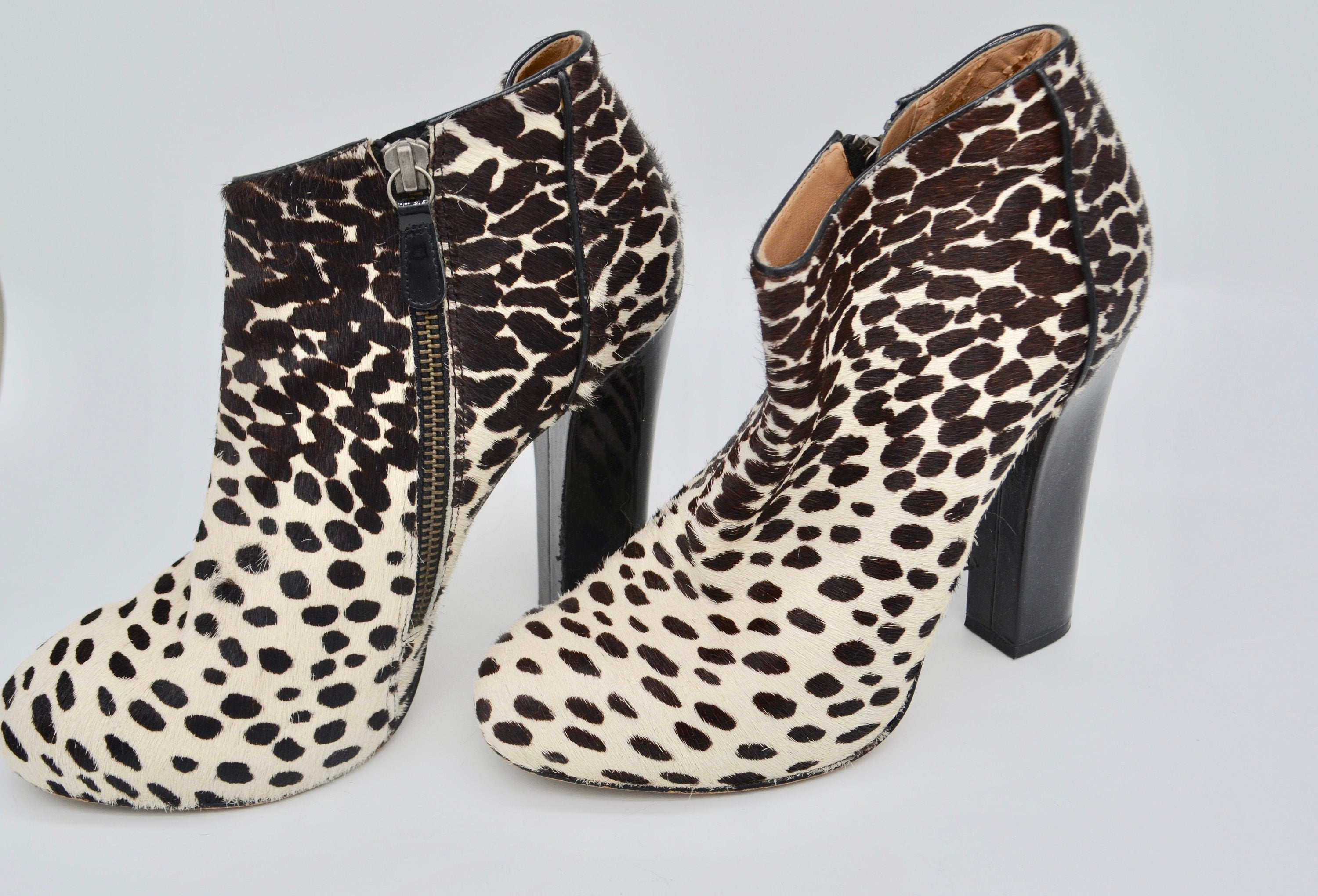 Anne Klein Animal Print Ankle Boots Leather Leopard-Print Calf Hair Booties Bohemian Shoes Autumn