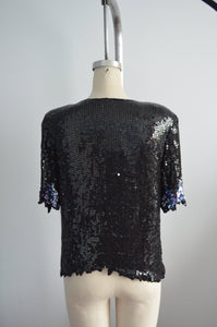 Bejeweled Sequined Scalloped Leaves Edge Top Blouse Short Sleeve