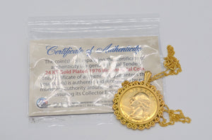 1976 Nwt 24Kt Gold Plated Bicentennial Coin Filigree Bezel In Gold Plated 925 Silver Chain Necklace