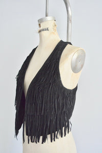 1970S Western Bohemian Black Color Leather Fringe Tank Vest Suede Boho Chic Extra Long Jacket