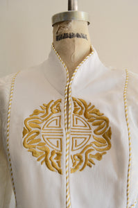 1980S Harem Mandarim Pant Suit Japanese White/Gold Mandala Cropped Jacket Blazer Miami Vice Indian