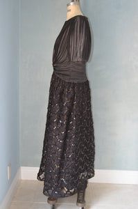 Nuit Black Lace Tulle And Satin Puffy Sleeves Prom Dress Cocktail Party