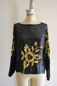 80S Black Gold Floral Sequin Flower Beaded Dolman Sleeve Silk Top Heavily Blouse Style