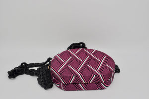 Round Circle Pink Striped Chevron Fabric Hard Mini Crossbody Bag Black Acrylic Chain Handbag
