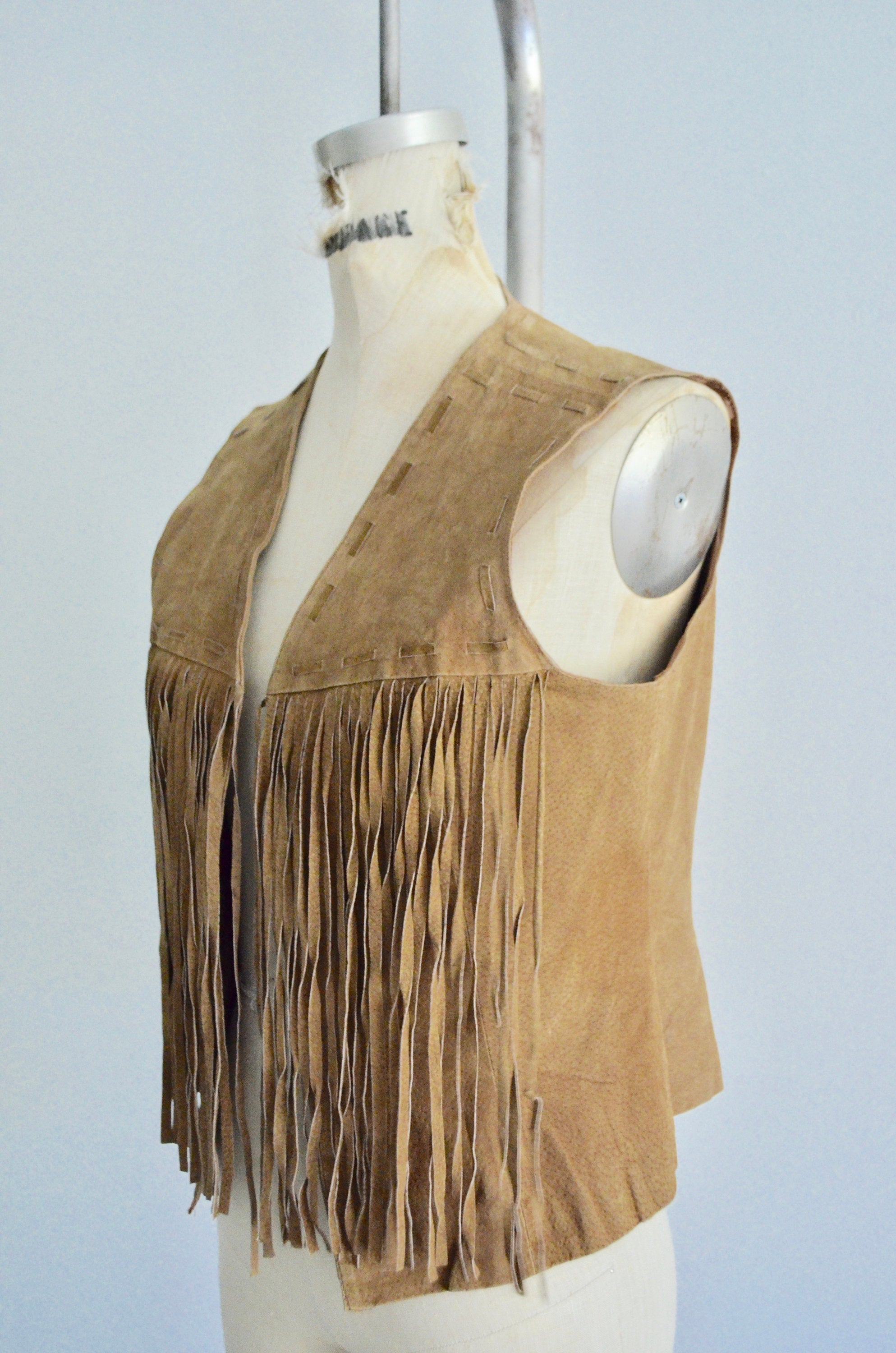 1970S Western Bohemian Toffee Color Leather Fringe Vest Suede Boho Chic Extra Long