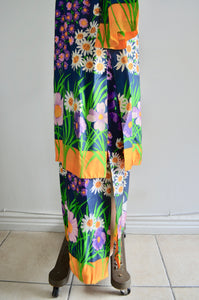 1970 Mod Lillie Rubin Psychedelic Floral Print Maxi Tunic Cardigan Matching Set Dress Twiggy