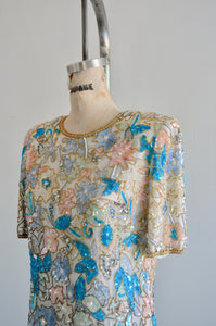 Laurence Kazar White Multicolor Floral Roses Sequined Beaded Pearl Silk Top Scalloped Hem Blouse