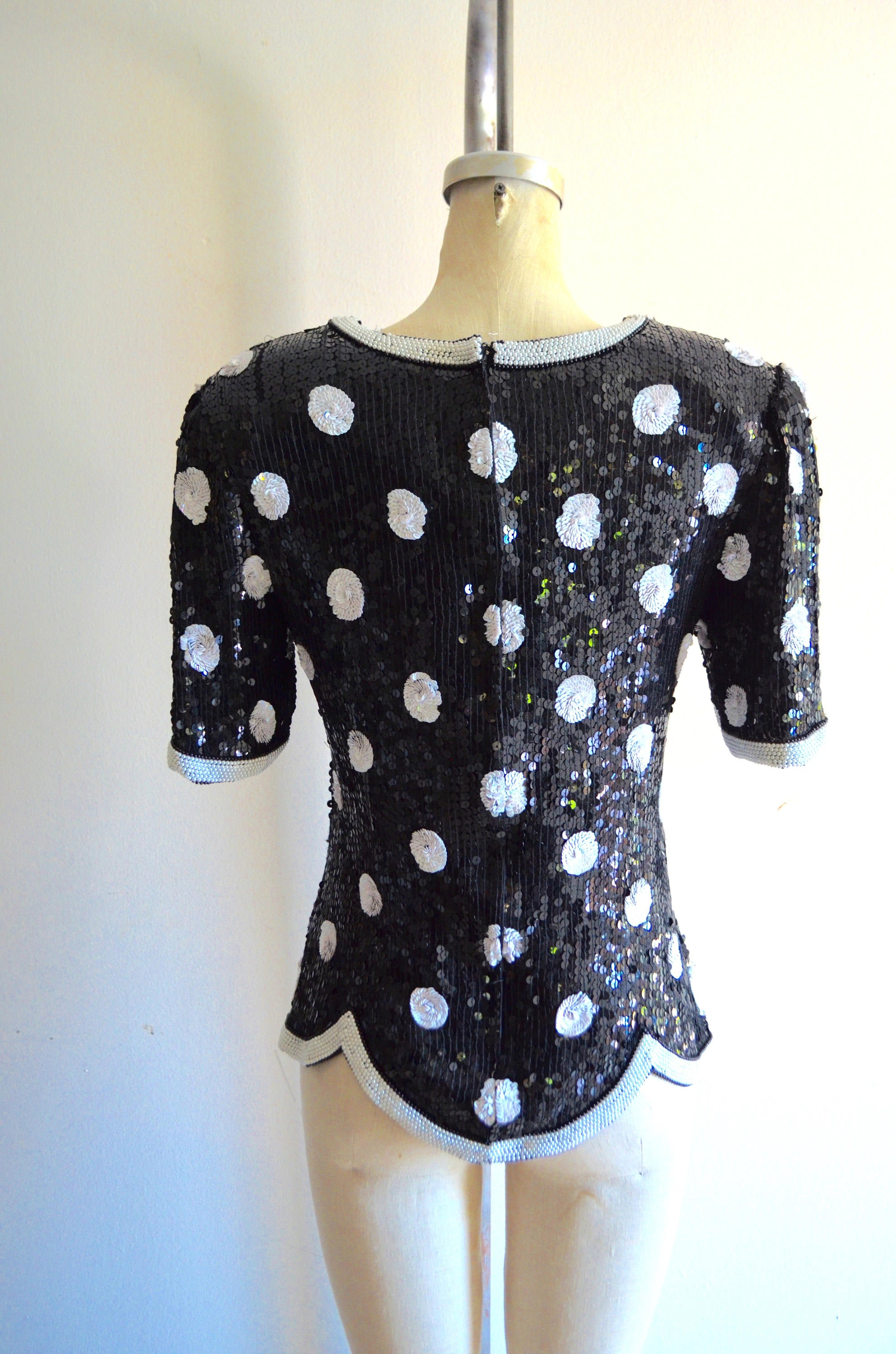 Polka Dot Sequined Scalloped Top Blouse Pearl Beaded Wedding Silk Style