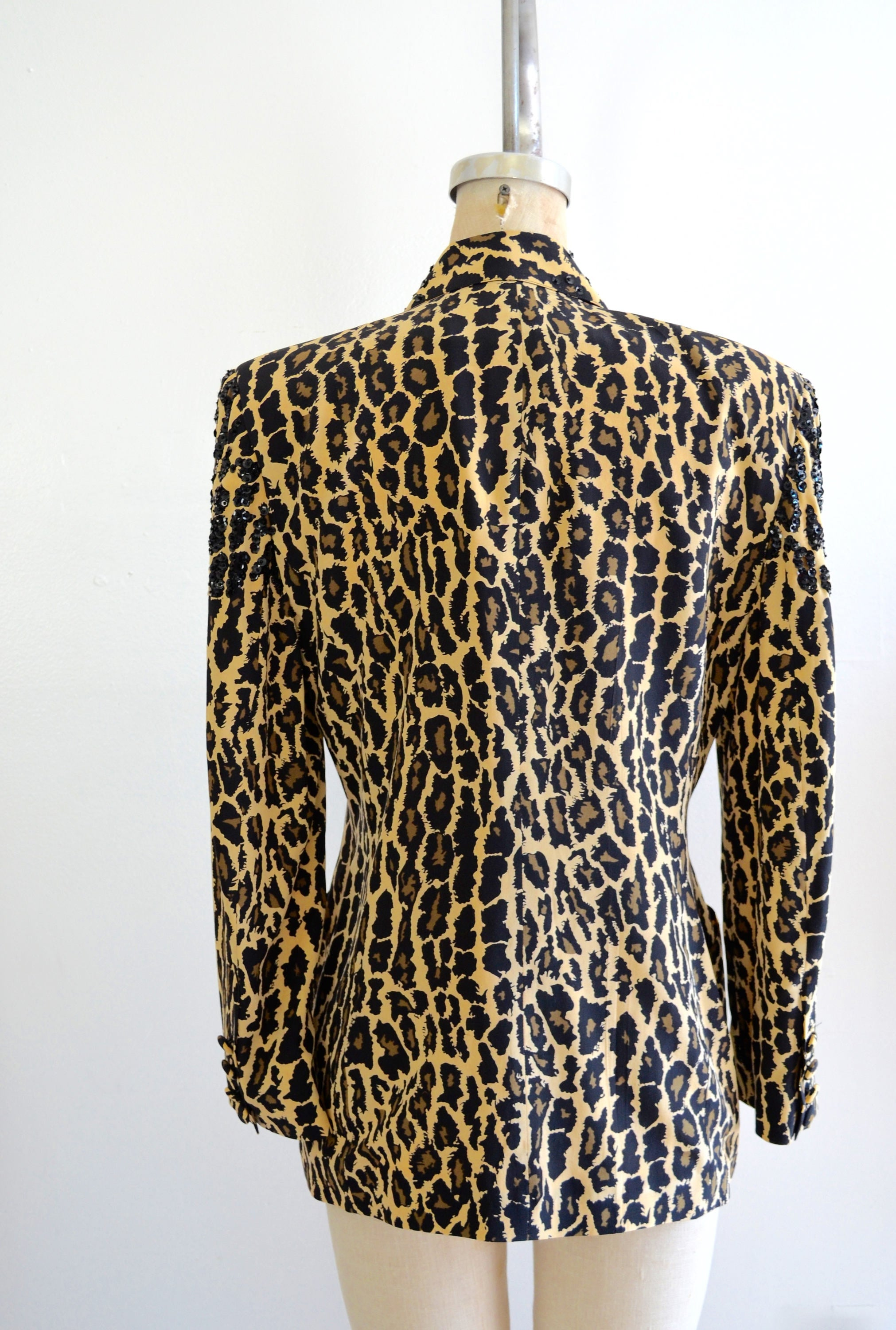 Silk Black Leopard Sequins Animal Print Beaded Blazer Jacket Eleanor P Brenner Size 4