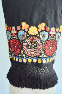 1980S Bohemian Black Linen Oversized Fringe Tassel Vest With Colorful Floral Mexican Embroidery