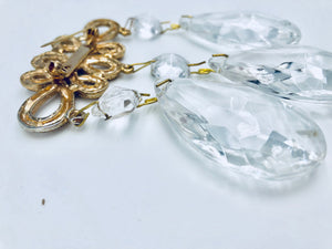 Antique Crystal Chandelier Oversized Brooch Antique Gold Plated Prism Teardrop Chinese Frog Faceted