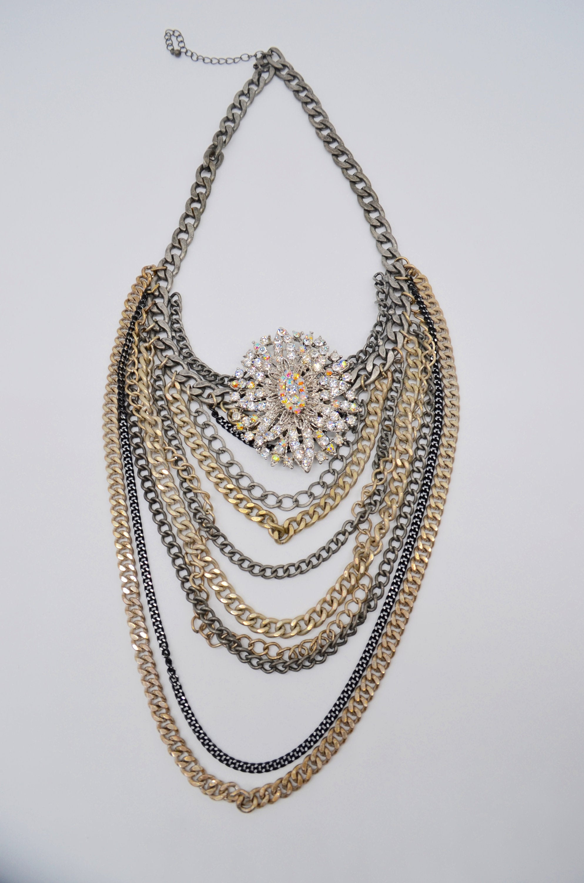 Statement Multi Layered Lengths Of Chain Antique Silver Necklace With Filigree Brooch Rockstar
