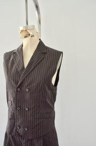 Vintage Plaid Black Pinstripe Vest Wide Leg Suit Tailored Women's Fashion Trend Street Style