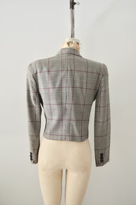 1990s Vintage Jones New York Houndstooth Black White Red Cropped Jacket Shoulder Pads Womens Suit