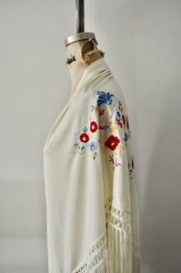 Vintage Hand Embroidered Antique Rose Floral Piano Long Fringe Shawl Cape
