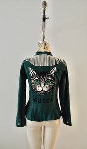 Military Green Denim Rhinestone Crystal Fringe with Huge Cat Patch Dazzling Style Cropped Jacket