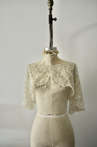 Victorian Sequin Beaded Sheer Lace Capelet Sleeve Shrug Shawl Appliqué Off White