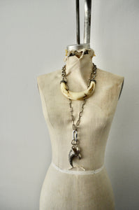 Ethnic Boho Huge Beige Resin Tribal Horn Silver Necklace with Long Link Chain Carabiner Lock Pendant