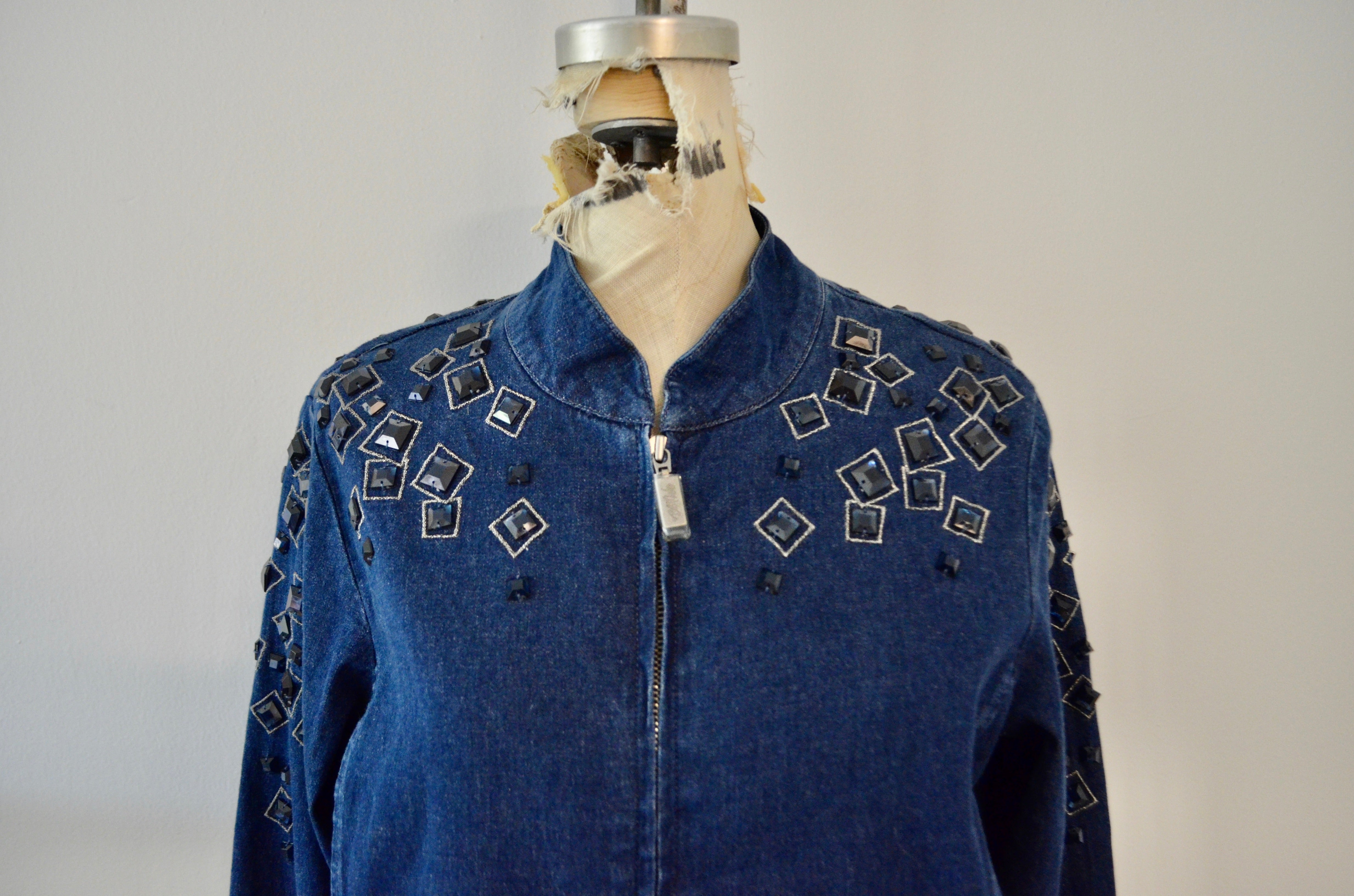 Vintage Bob Mackie Wearable Art Denim Beaded Jewelry Design Jean jacket Runway Spring Trend