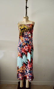 NWT Deadstock Silk slip dress with spandex trend long dress casual