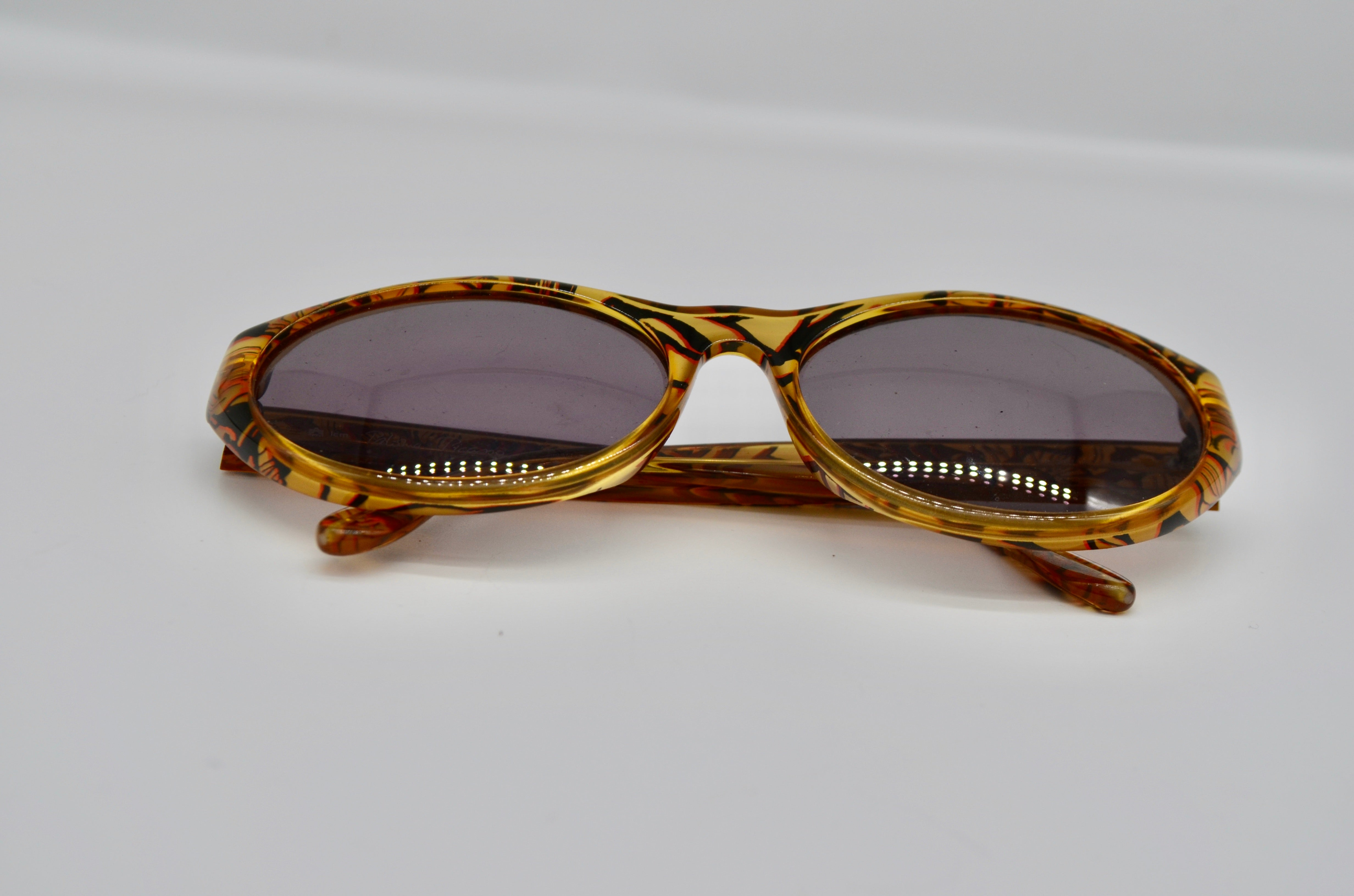 Vintage Authentic Paloma Picasso Cat Eye Floral Translucid Sunglasses Frame 3807-30