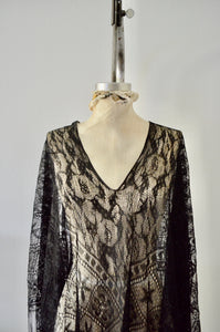 Boho Black Lace Fringe Kaftan Kimono Cover Up Spring Runway
