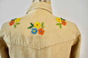 1970's Womens Denimites Velour Corduroy Shirt Peacock Flower Embroidery Beading Bohemian Long Sleeve
