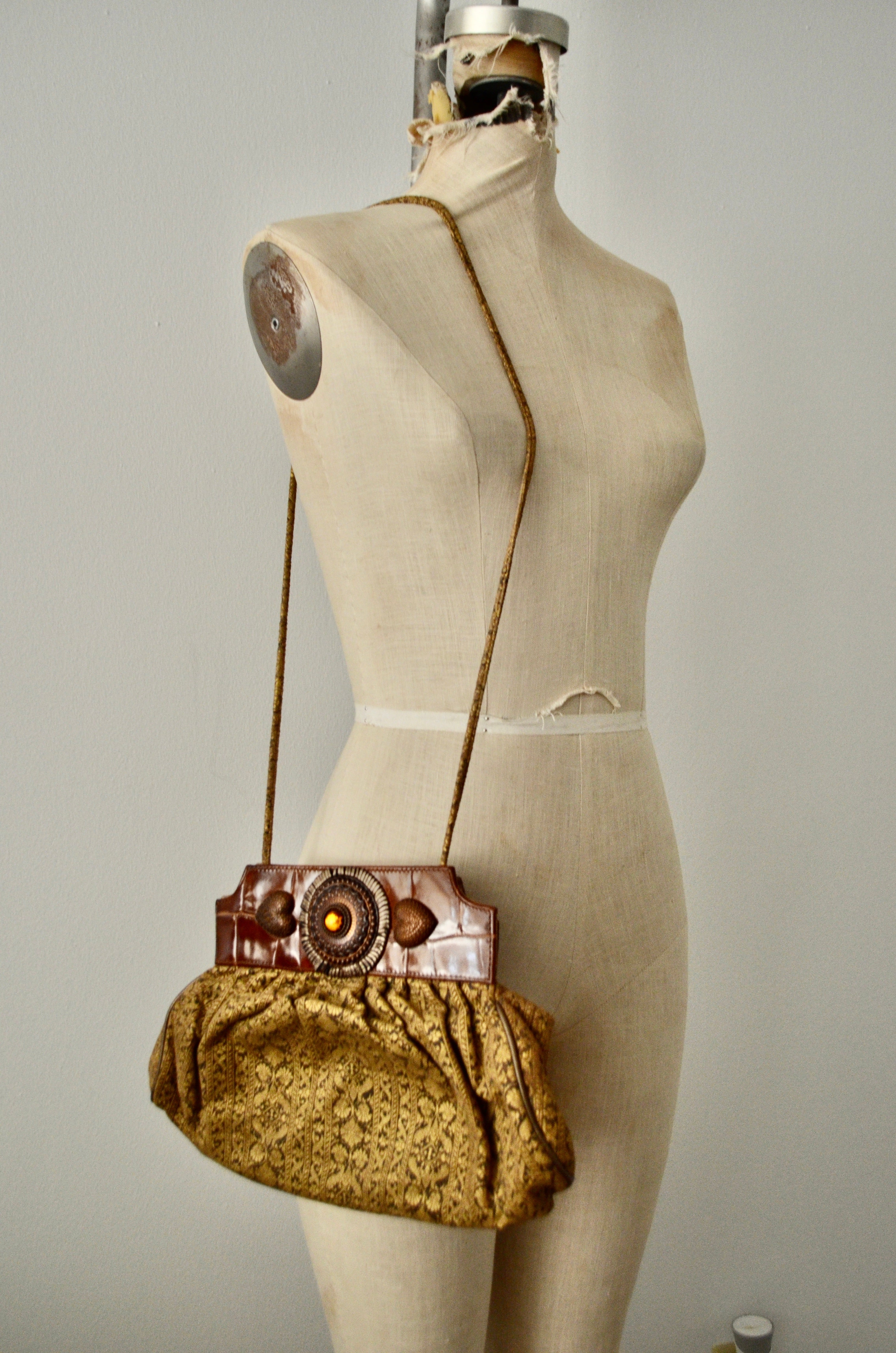 "Vintage 80's ""BRACCIALINI"" Upholstery Fabric Medallion Leather Shoulder Clutch Bag Made in Italy"