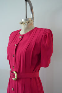1980S Blazer Dress By S L Petites Pink Button Down Shirt Dress With Matching Belt Linen Shoulder Pads