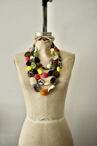Boho Multi Strand Chunky Resin Acrylic Beads Necklace Statement Piece