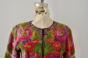 Vintage Cache Exquisite Silk Ribbon Flower Swirl Design Pattern Cropped Jacket