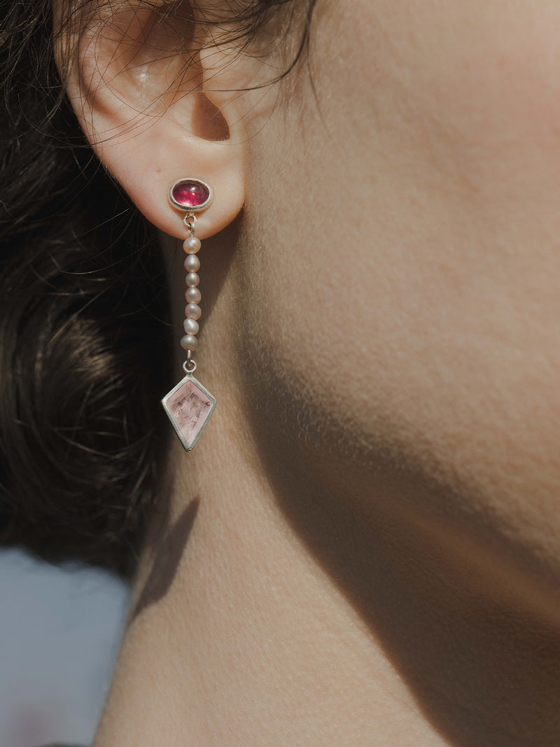 rubellite, pearl and morganite nymphaea earrings