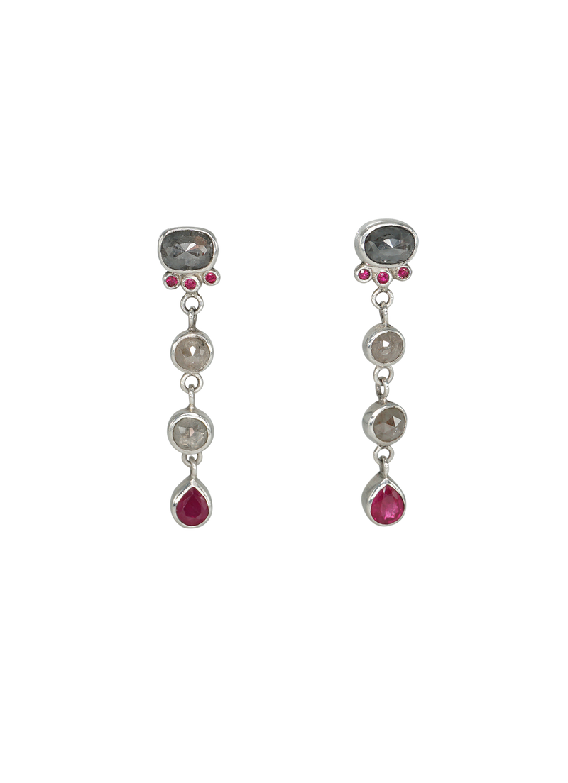 diamond and ruby tephra earrings