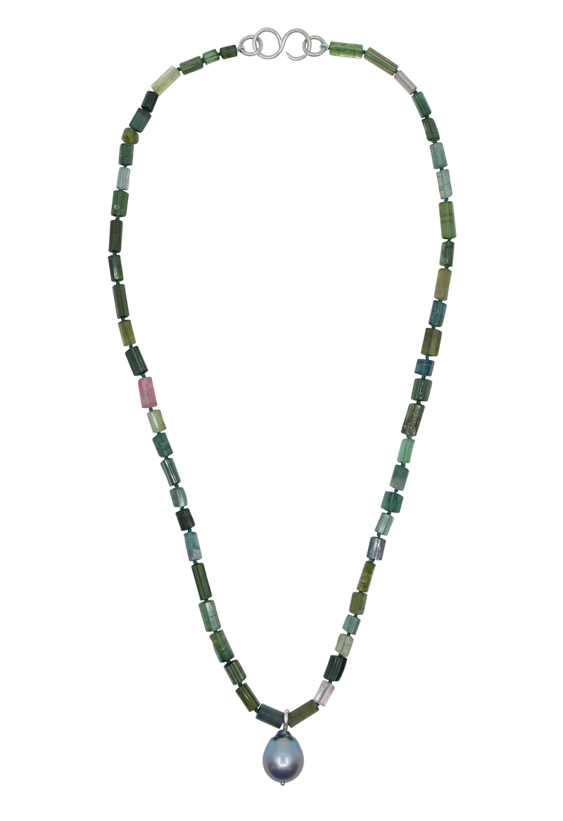 green tourmaline and pearl lagoon necklace