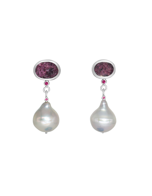sapphire pearl and ruby sutera earrings