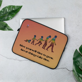 Give Yourself Time To Grow Great Things Take Time Laptop Sleeve