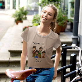Happiness Is A Choice All-Over Print Crop T-Shirt
