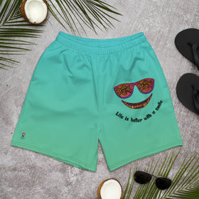 Life Is Better With A Smile All-Over Print Men's Athletic Long Shorts
