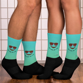 Life Is Better With A Smile Black Foot Sublimated Socks