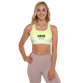 Love Yourself All-Over Print Padded Sports Bra