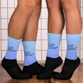 Play Pause Stop Replay Black Foot Sublimated Socks