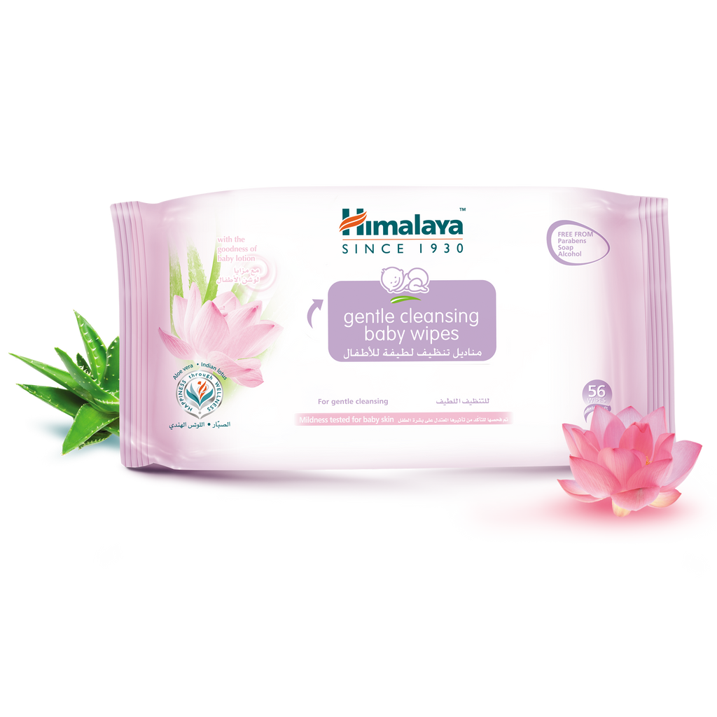 Himalaya Gentle Cleansing Baby Wipes 56Pcs - Moisturizes Baby's Skin