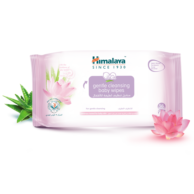Himalaya Gentle Cleansing Baby Wipes - No Alcohol, No Parabens - 56pcs